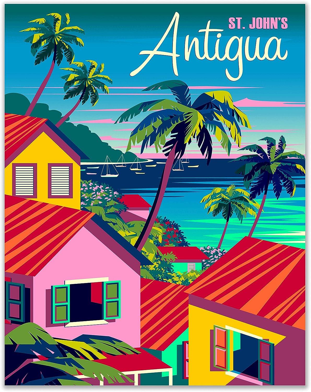 Antigua Travel Poster Print - Set of 1 - (11x14 Inches) St. Johns Caribbean Retro Colorful Vibrant Coastal Artwork for Home Decor