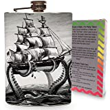 The Kraken Attacks Pirate Ship 8oz Stainless Steel Metal Hip Flask Vintage Octopus for Drinking Liquor Alcohol Whiskey Vodka Gin Wedding Gifts