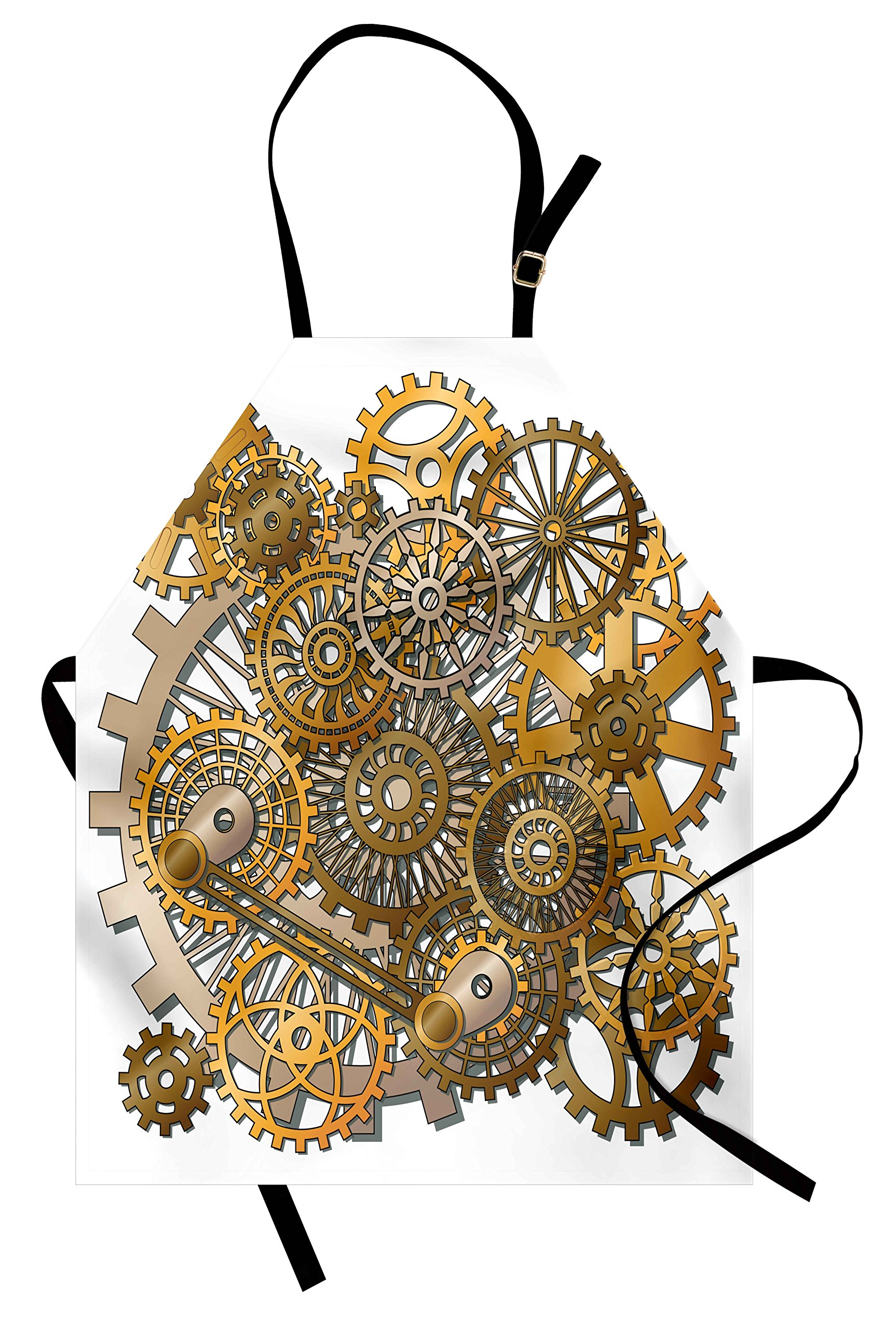 Ambesonne Clock Apron, The Gears in The Style of Steampunk Mechanical Design Engineering Theme Print, Unisex Kitchen Bib Apron with Adjustable Neck for Cooking Baking Gardening, Gold and Brown