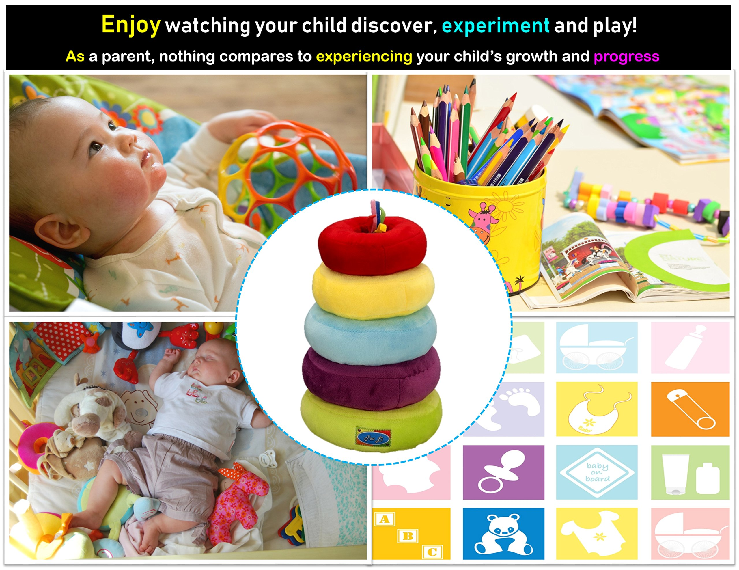 Stacking Rings Toys - Soft Stuffed Plush Educational Game for Baby Infant Toddler Kids and Young Children , Safe Colorful Shape Sorting Stacker Play for Boys and Girls.. The by Tov Li Toys (Image #2)