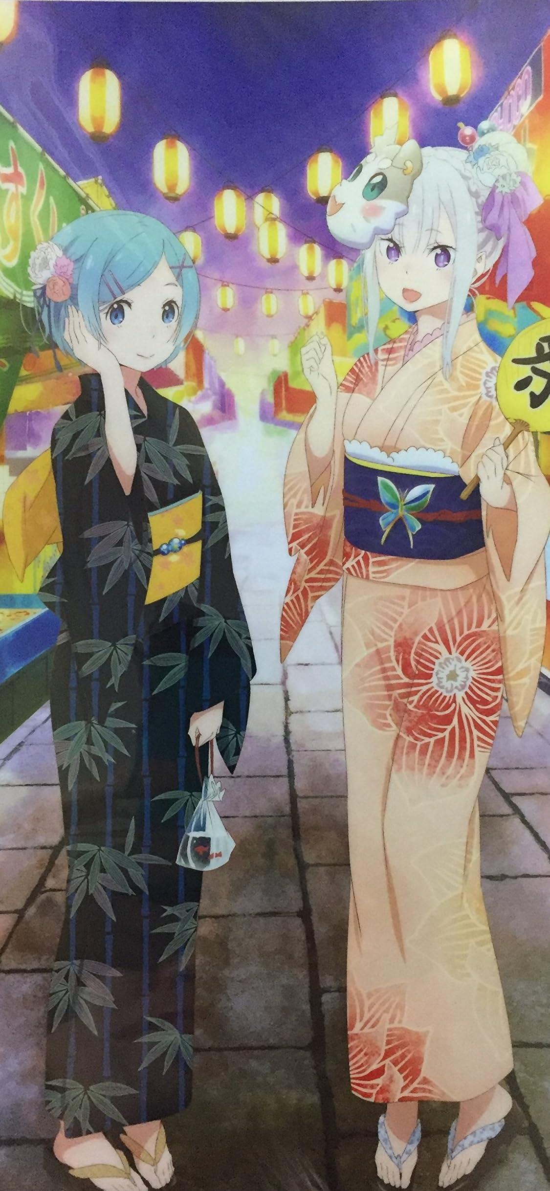 Re:ゼロから始める異世界生活 エミリア & レム 夏祭りver. iPhone X 壁紙(1125x2436)画像