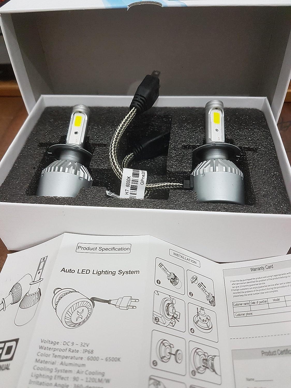 H4 con anillo adaptador extra/íble H7 J/&J bombillas para luces de cruce o carretera 6000 K 12 000 lm Kit de faros de autom/óvil LED COB de 72 W modelo H1 blanco H7
