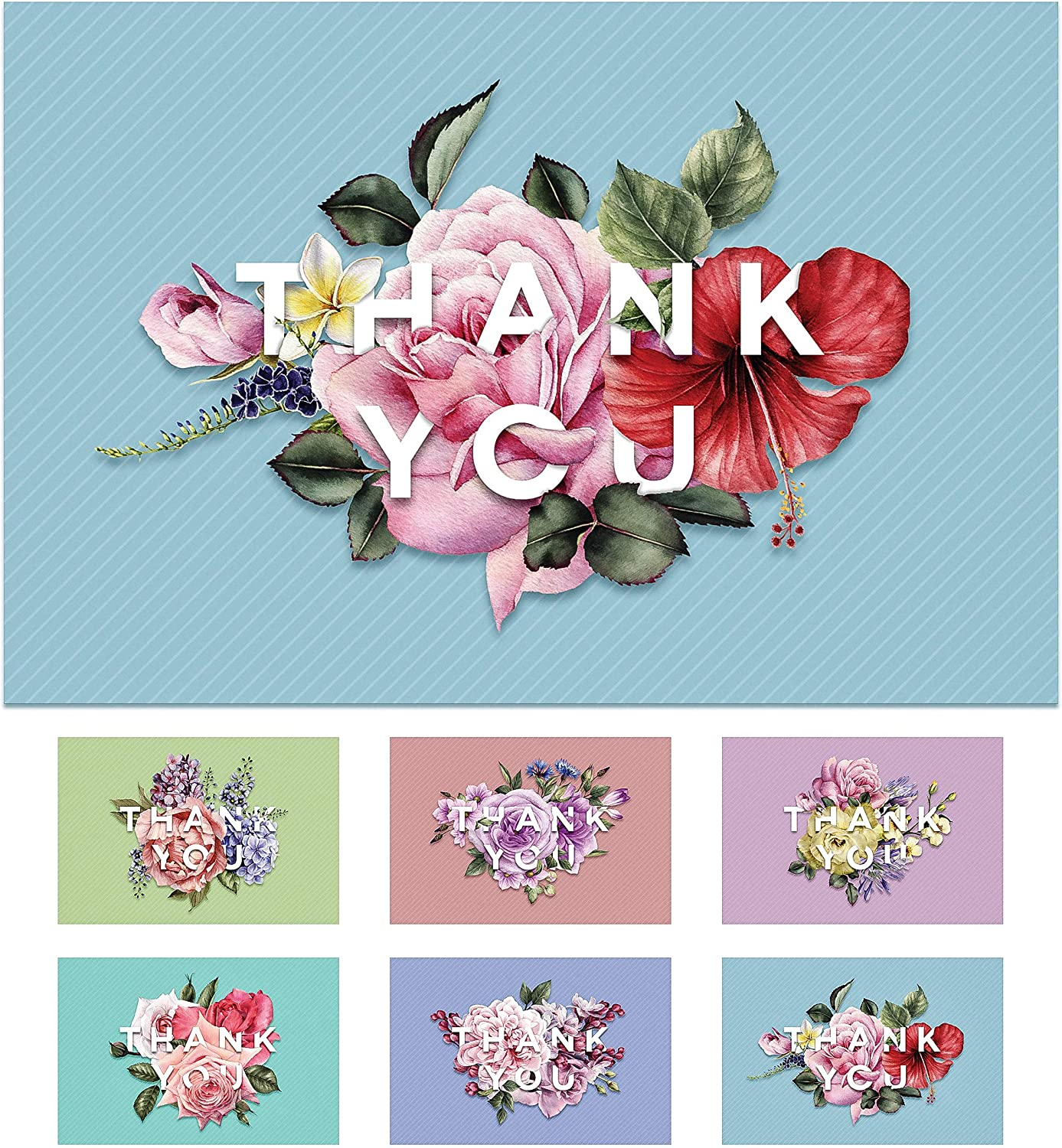 Thank You Cards - 48 Count - Greeting Notes with Envelopes - 4x6 inches - Floral Thank You Cards - Blank Inside - For Wedding, Baby Shower, Bridal Party, Business, Graduation, Sympathy - Bulk