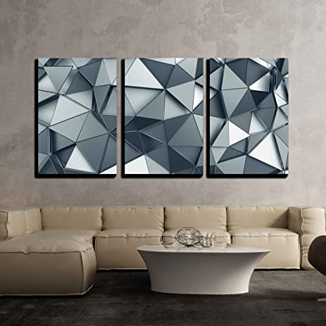 Wall26   3 Piece Canvas Wall Art   Abstract 3d Rendering Of Metal Surface.  Background