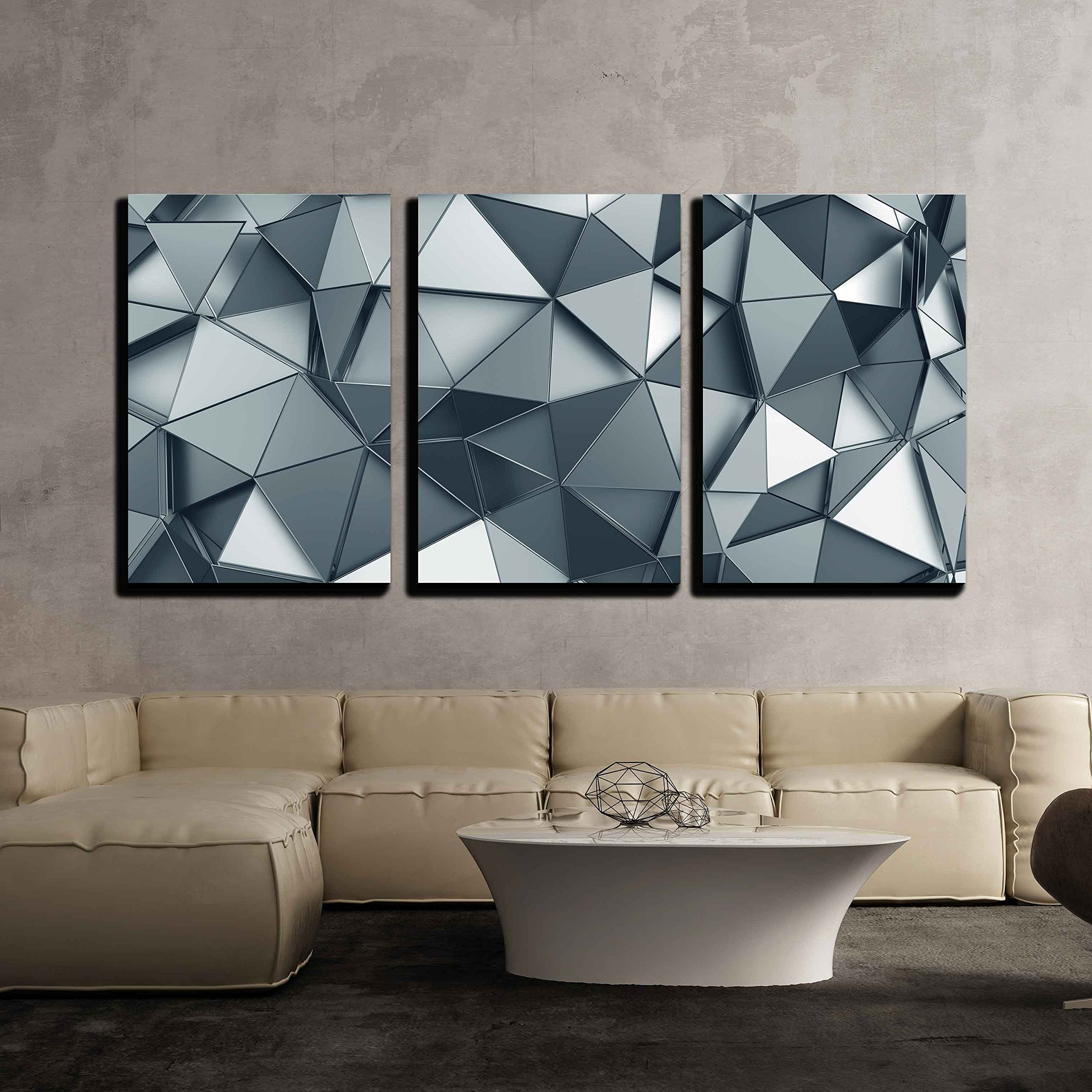 wall26 - 3 Piece Canvas Wall Art - Abstract 3d Rendering of Metal Surface. Background with Futuristic Polygonal Shape - Modern Home Decor Stretched and Framed Ready to Hang - 16''x24''x3 Panels