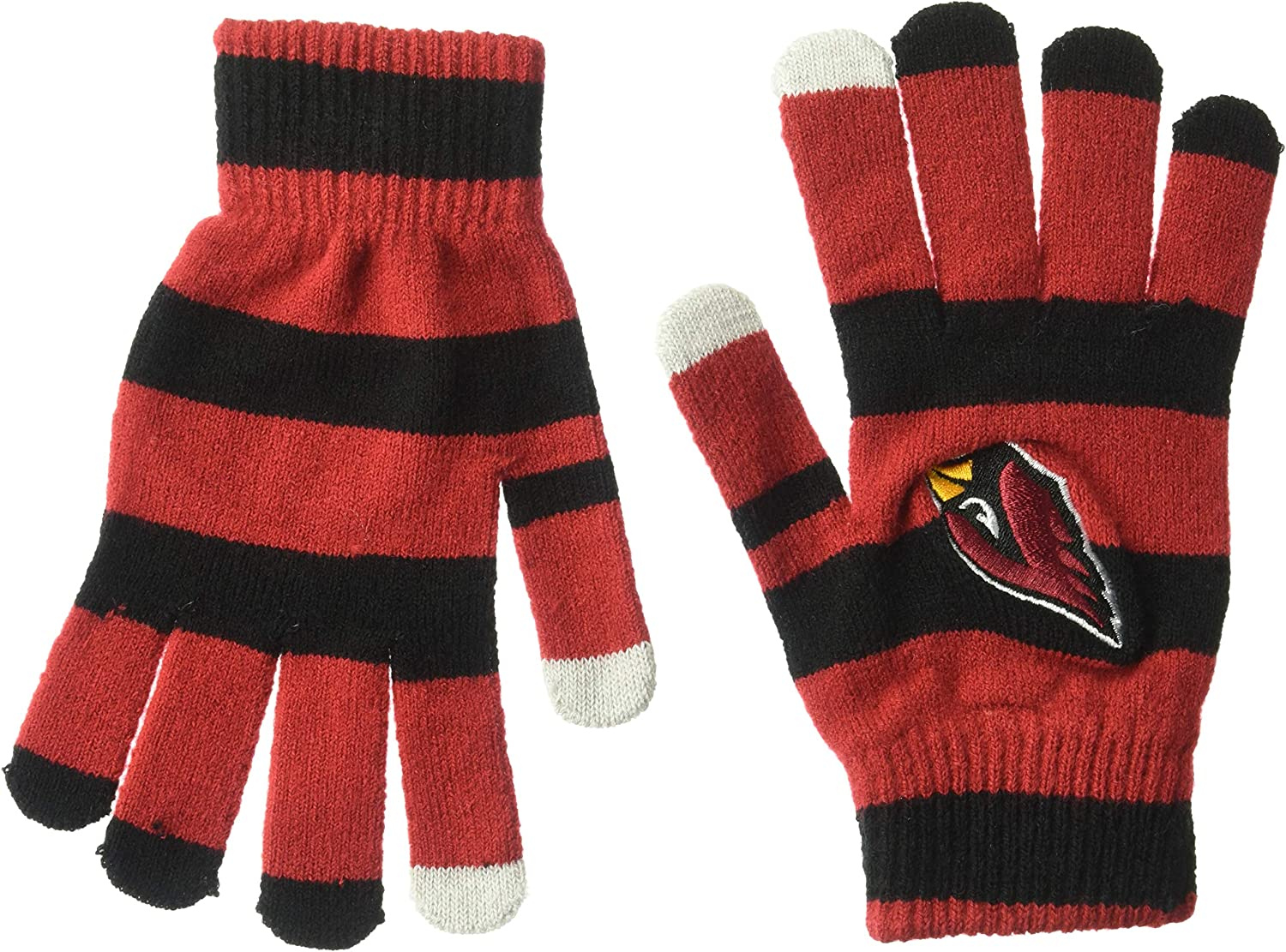 One Size Official NFL Football Licensed Knit Stripe Glove with Texting Tips ARIZONA CARDNIALS