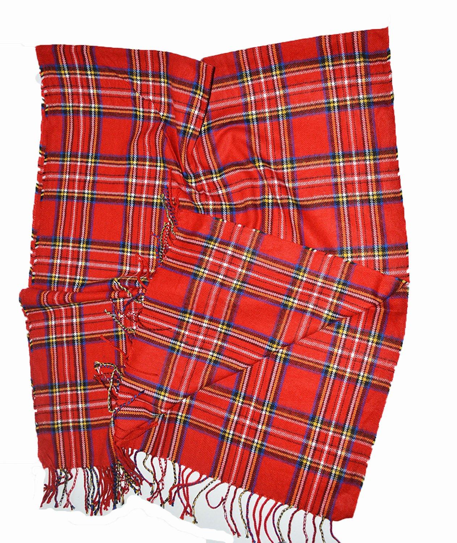 KGM Accessories Nice Extra Grande Rojo Stuart tartán escocés Cuadros Chal Bufanda