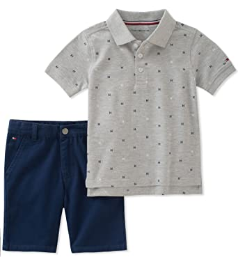 49a5dfbaf Image Unavailable. Image not available for. Color: Tommy Hilfiger Boys'  Toddler 2 Pieces Polo Shorts Set, Gray, ...