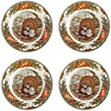 Queen's Harvest Bounty Thanksgiving Turkey Porcelain Salad Plates, 8-Inch, Set of 4