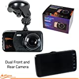 """iFox Creations Dual Car Dash Cam – Car DVR With Full HD 1080P 170 Degree Wide Angle Dashboard Camera with 4"""" Display Night Vision, Loop Recording and Motion Detection"""