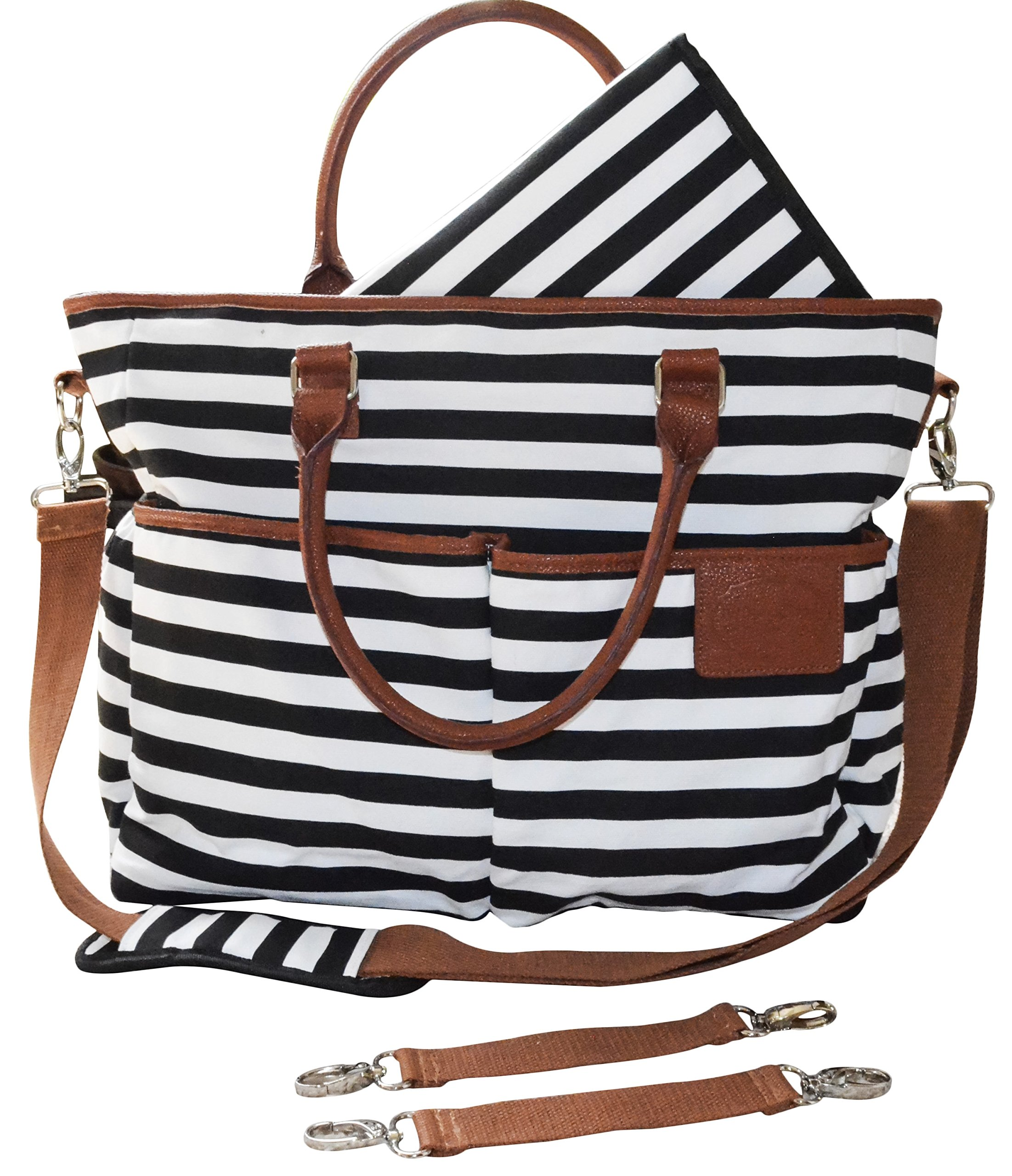 Diaper Bag for Stylish Moms, Black/White, Premium Cotton Canvas Tote Bag, 13 pockets Including Insulated Bottle Holders, by MommyDaddy&Me, Black/White