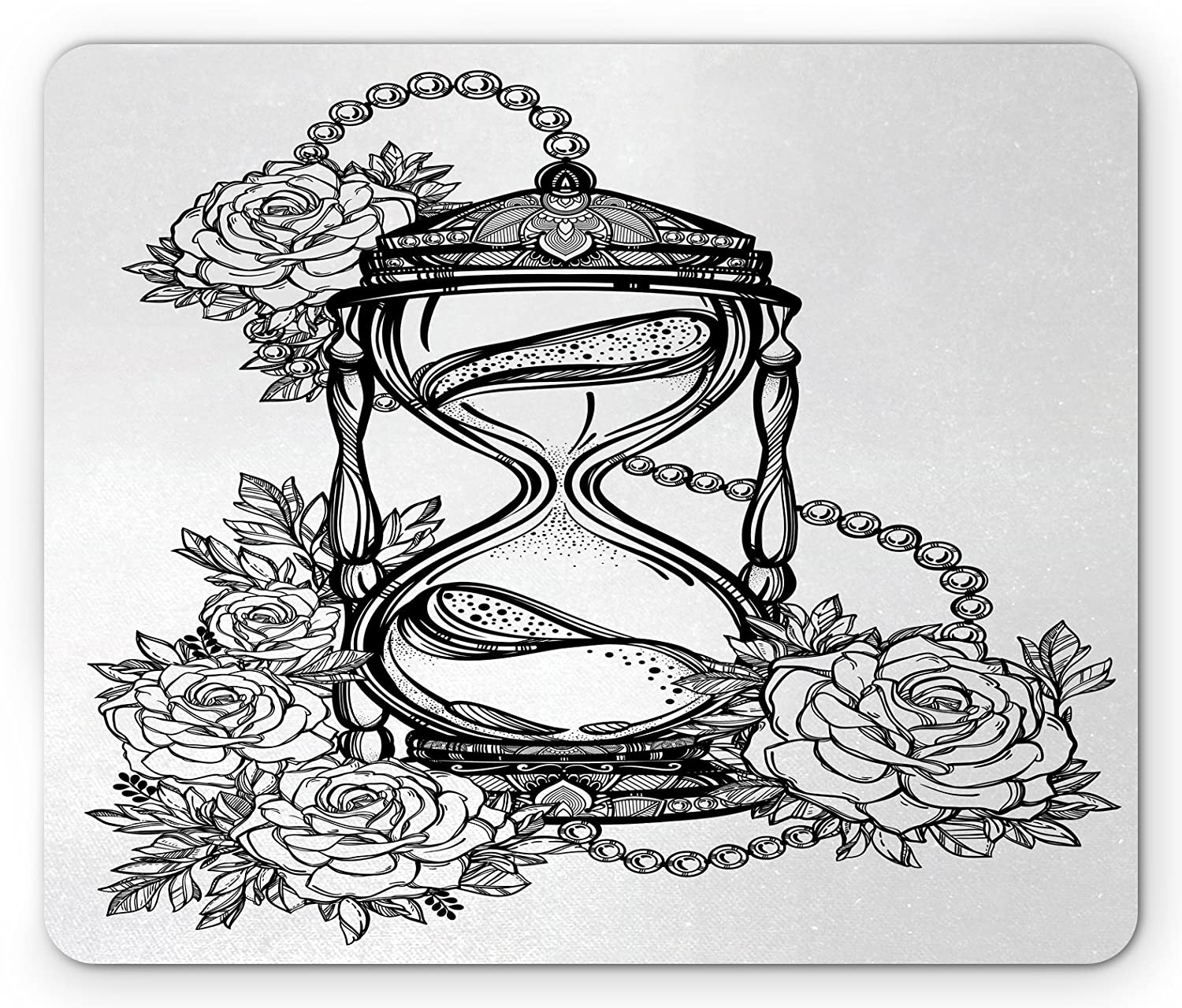 Ambesonne tattoo mouse pad pencil drawing romantic theme hourglass symbol of eternal love with roses print standard size rectangle non slip rubber