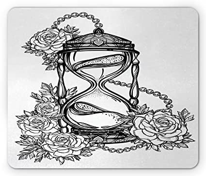 5cf62b9b1 Ambesonne Tattoo Mouse Pad, Pencil Drawing Romantic Theme Hourglass Symbol  of Eternal Love with Roses