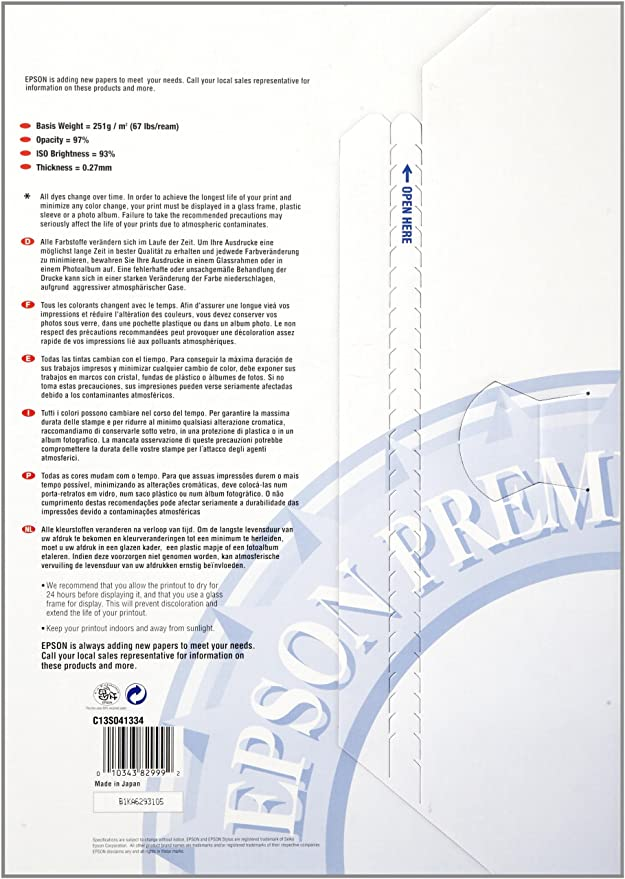 Epson Premium - Semi-gloss photo paper - A3 (297 x 420 mm) - 251 g ...