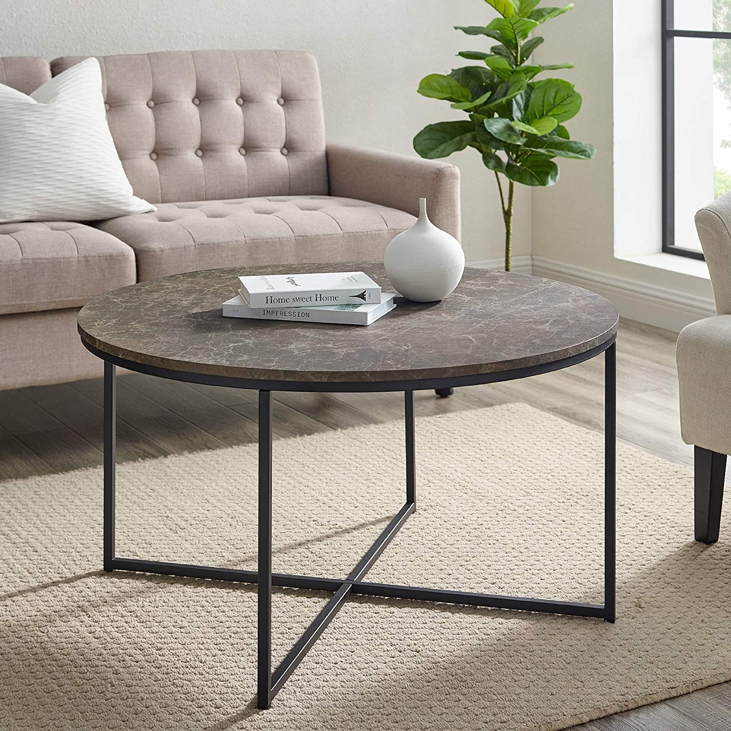 Walker Edison Modern Round Coffee Table Living Room Accent Ottoman, 36 Inch, Brown Marble