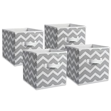 DII Foldable Fabric Storage Containers (Set of 4), Small, Gray
