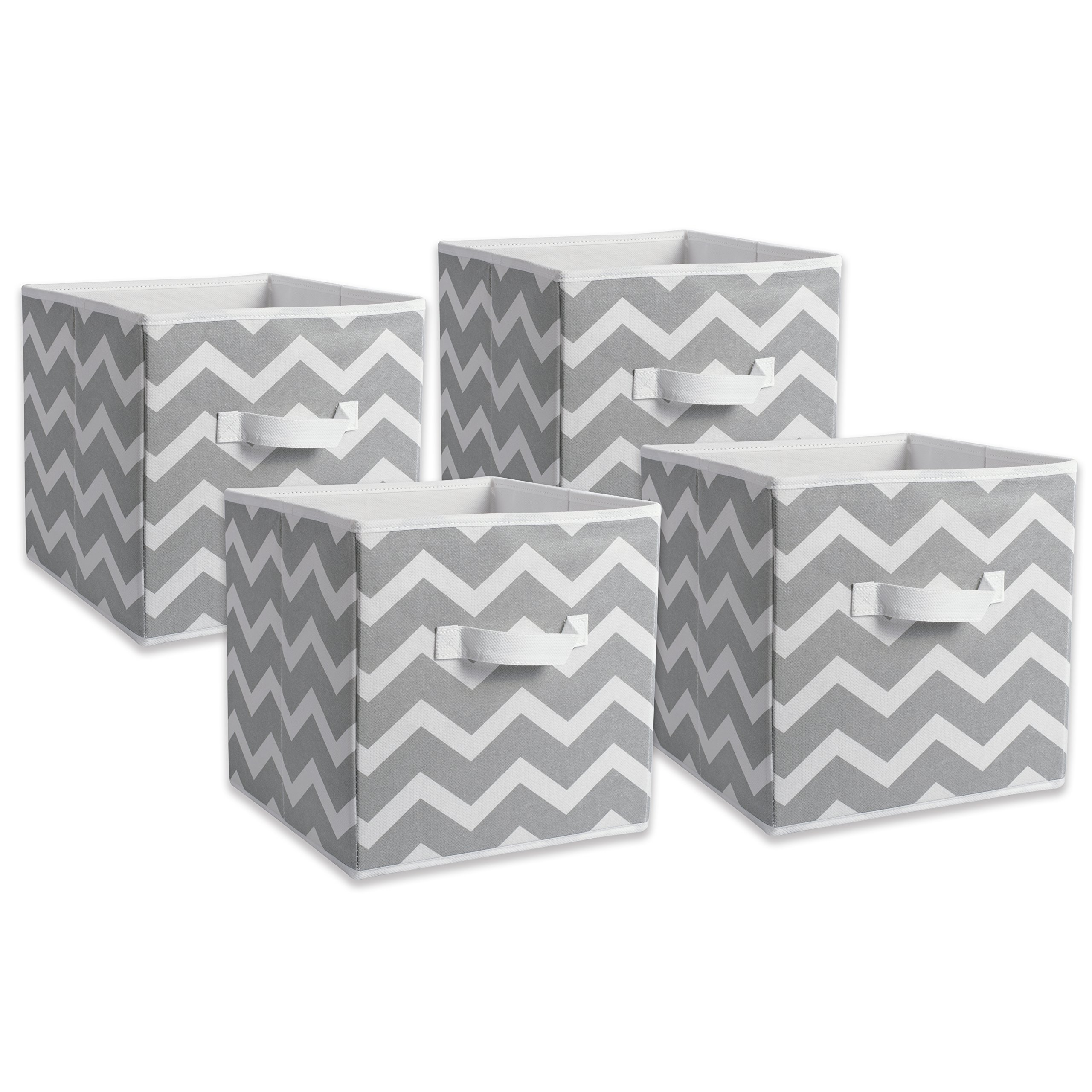 DII Fabric Storage Bins for Nursery, Offices, & Home Organization, Containers Are Made To Fit Standard Cube Organizers (11x11x11'') Chevron Gray - Set of 4