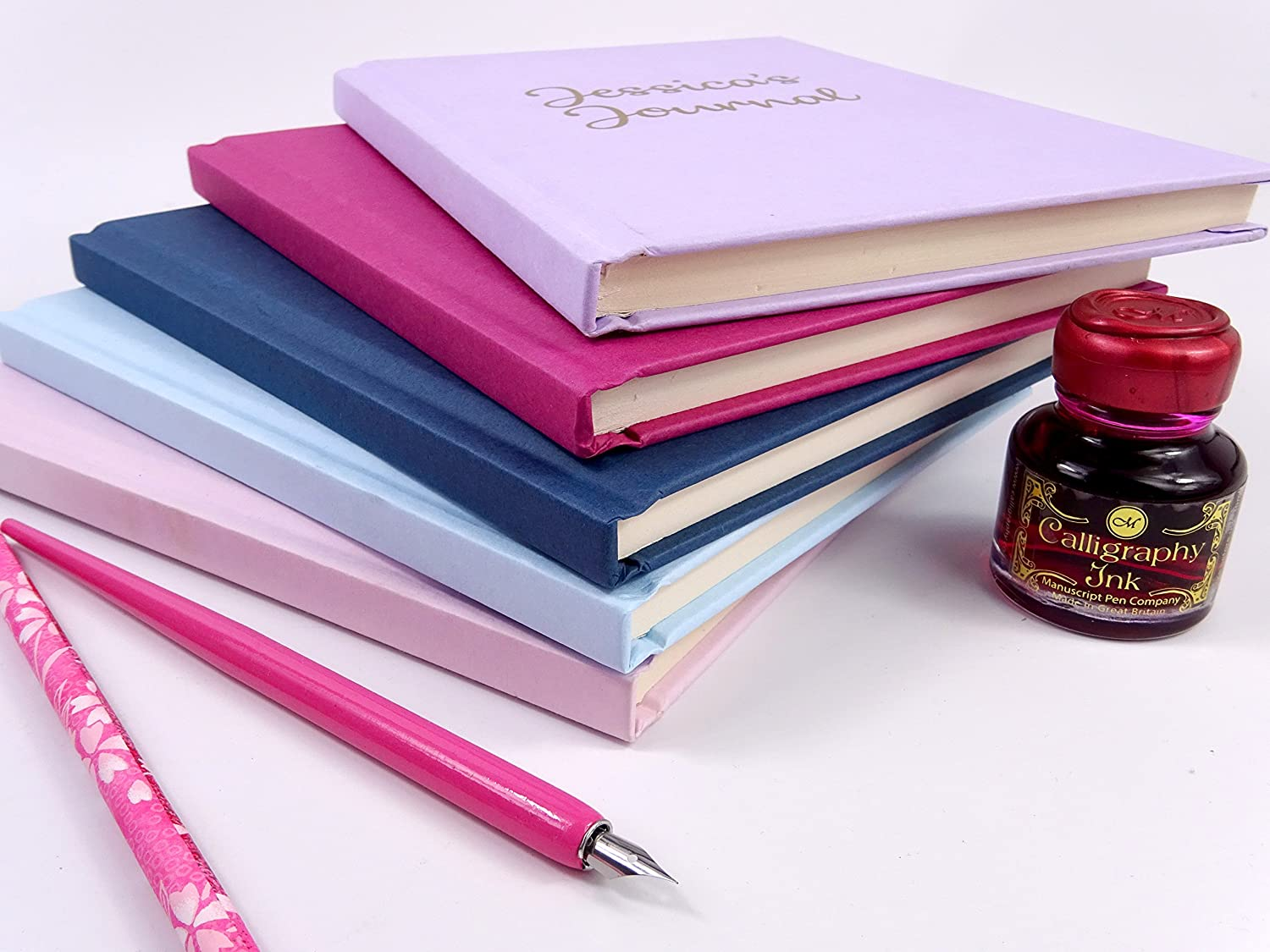 Personalised A5 Cerise Pink Lined Notebook//Journal//Diary with Gold Lettering