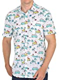 Tusok Men Short Sleeve Cotton Shirt Casual Hawaiian Aloha Flower Floral Leaf Party Beach Vacation Printed Car Tree Boat Multicolored White