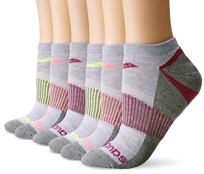 Saucony mujer 6 unidades rendimiento no-show calcetines de deporte - Gris -: Amazon.es: Ropa y accesorios