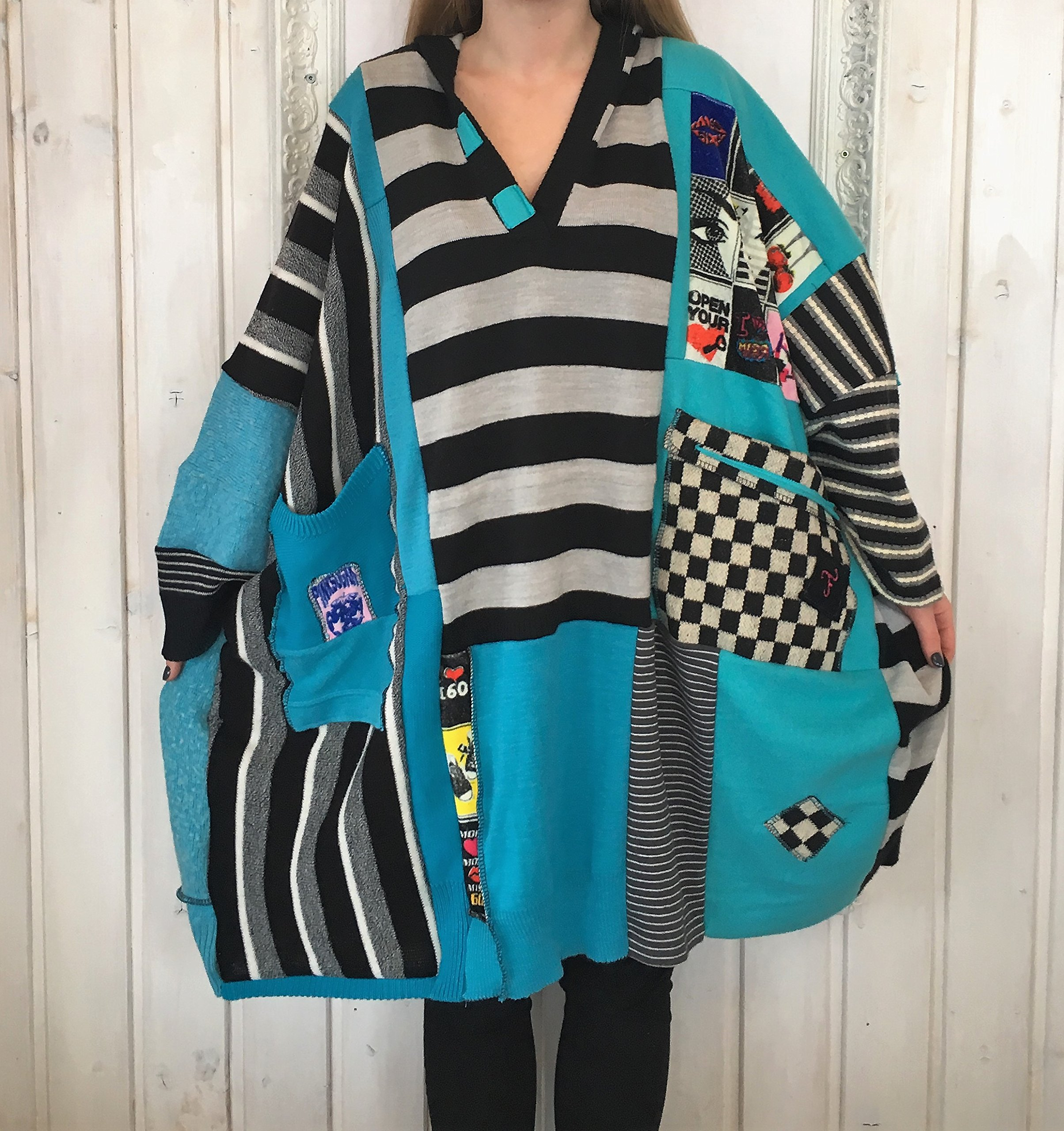 All sizes Woolen One of a kind Poncho coat Turquise Stripes Black