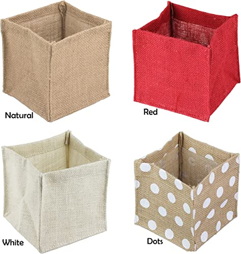 POSHNPRETTY 12 PCS Dozen Square Burlap Laminated Lined Vase Pot Cover Holder 5 x5 x5 – 6 x6 x6 – Choose Colors 6 x 6 x 6 , Natural