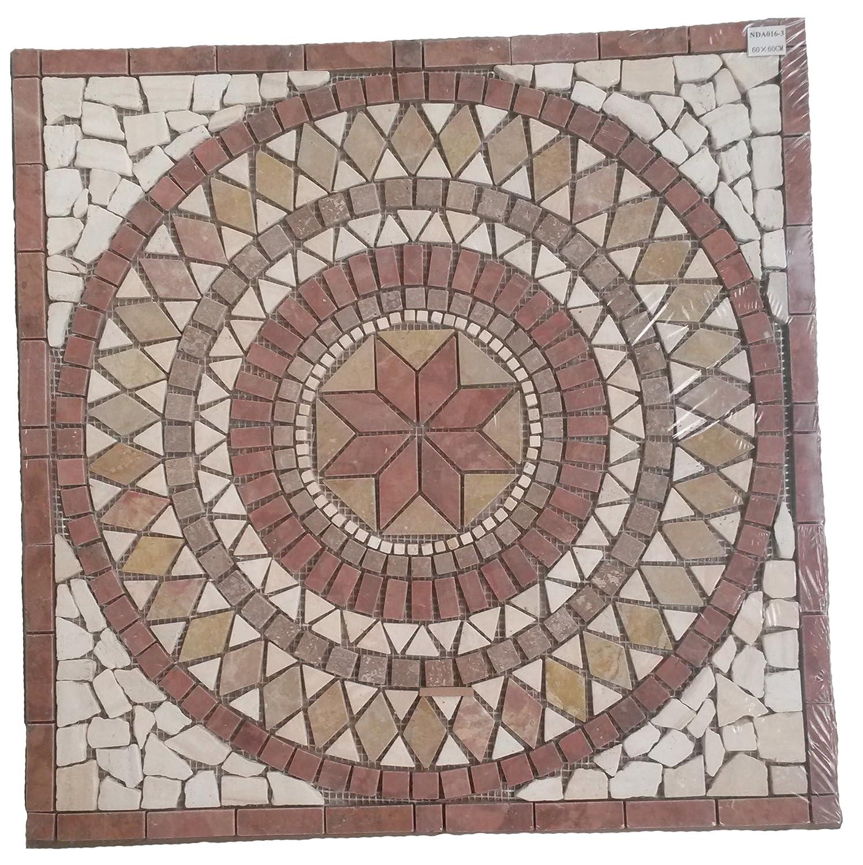Marble mosaic square medallion tile 60x60 cm Rosso Verona Handmade in Europe Elroni