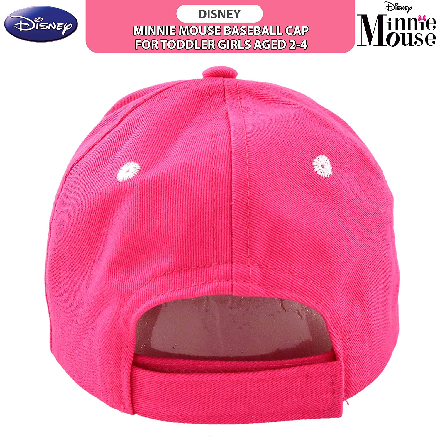 Disney Toddler Girls Minnie Mouse Character Baseball Cap Ages 2-4 Pink//White