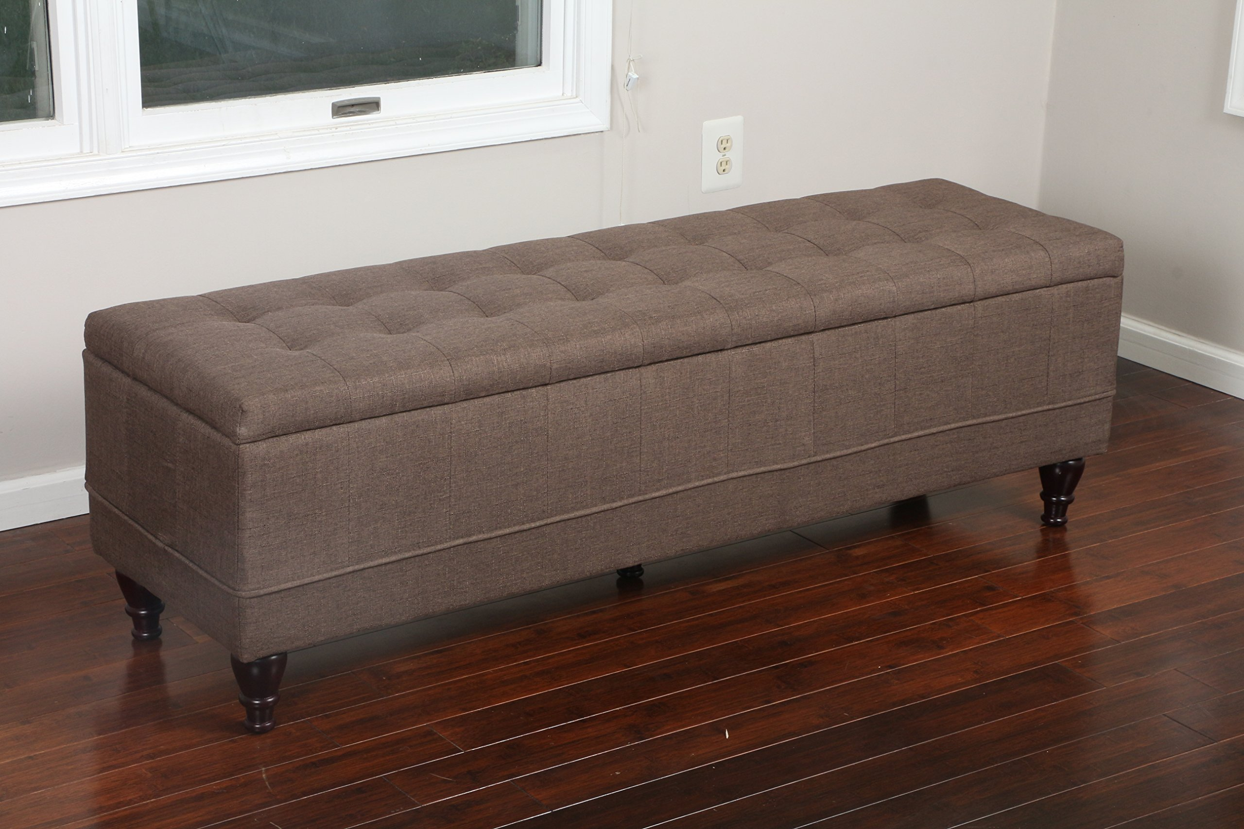 Home Life 59'' x 17'' Extra Long Front of Bed Storage Lift Top Bench Ottoman, Queen, Brown by LIFE Home (Image #1)