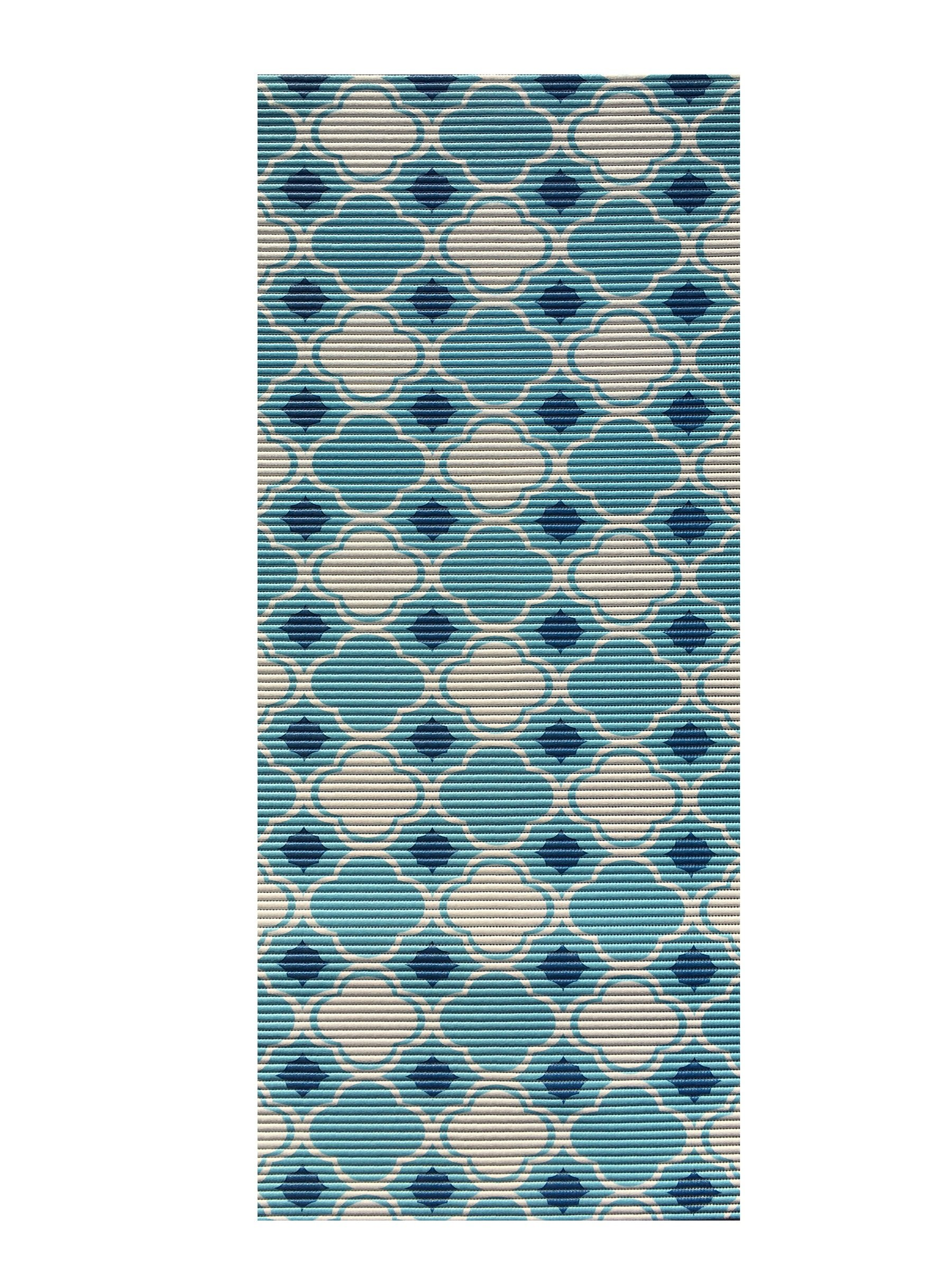 All Design Mats AQ4003-02-2x6 Cushioned Non-Slip/Rubber Moroccan Trellis Aqua Runner/Doormat, Easy Cut to Fit in Your Hallway, Bathroom or Kitchen with Scissors, Blue