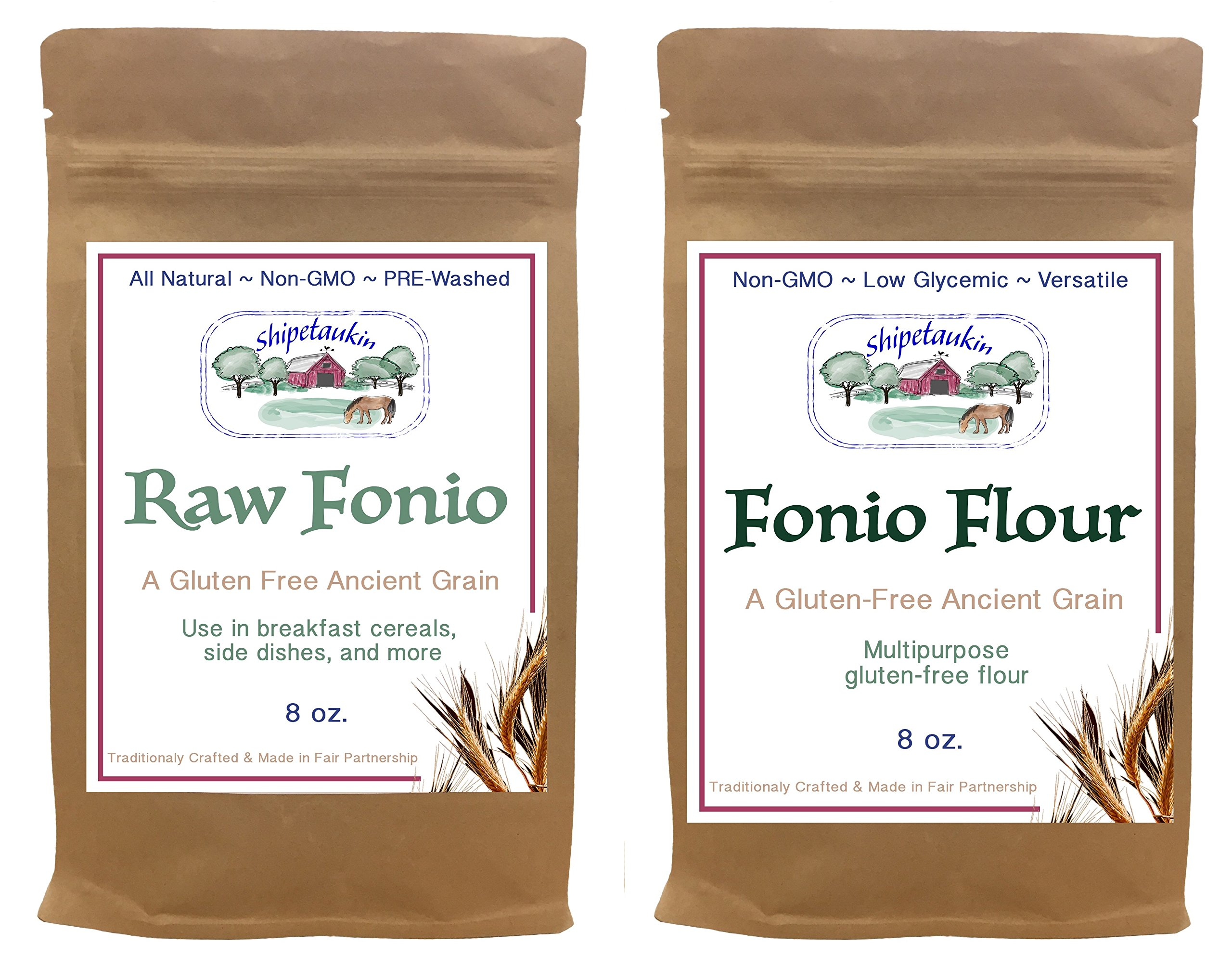 Shipetaukin Vegan Gluten Free Lectin Free Raw Fonio Grain and Fonio Flour Ancient African Whole Grain Supergrain Sampler Bundle, 8 Ounces by Shipetaukin
