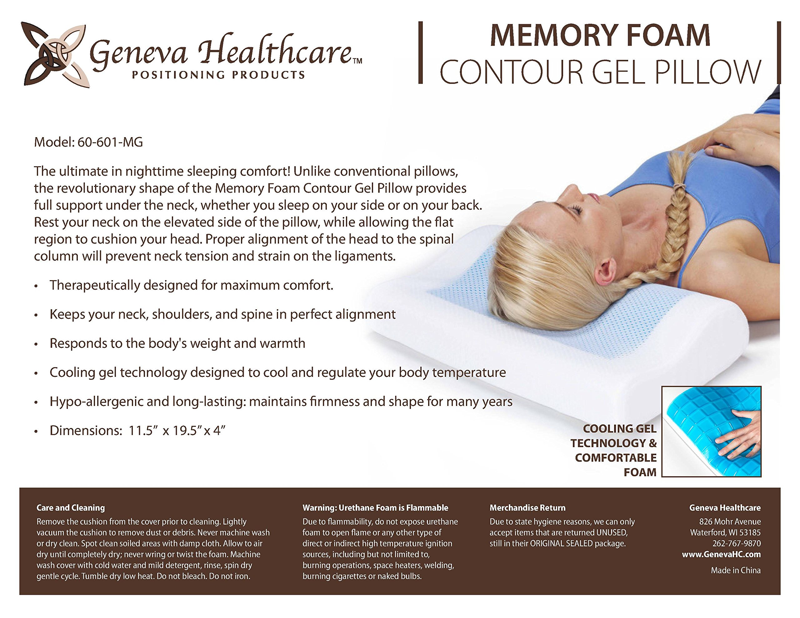 Geneva Healthcare Memory Foam Contour Pillow with Gel Pad - 4'' x 11.5'' x 19.5'' - 1/EA