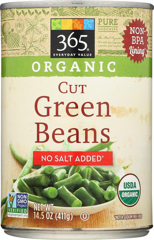 365 Everyday Value, Organic Cut Green Beans, No Salt Added, 14.5 oz
