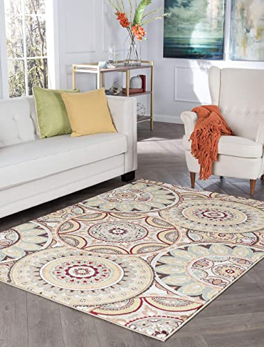 Tayse Ashton Multi-Color 8x10 Rectangle Area Rug