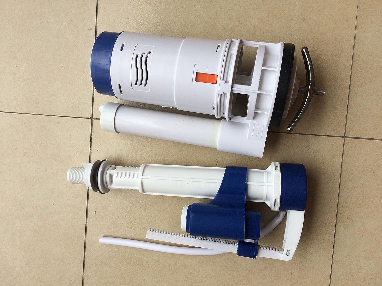 Height of Outlet Valve Flyshop Connected Toilet Fittings Water Tank Drain Fill Valve Dual Flush Kit Converter White 9.8//25cm