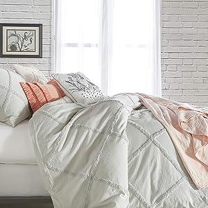 Peri Home Chenille Lattice 100% Cotton Duvet Cover, Full/Queen, Grey