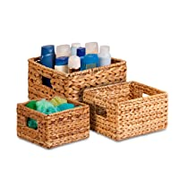 Honey-Can-Do STO-02882 Nesting Banana Leaf Baskets, Multisize, 3-Pack,Natural