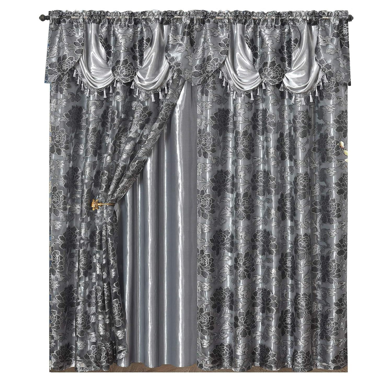 "GOHD Golden Ocean Home Decor Royal ROSARIUM. Clipped Voile/Voile Jacquard Window Curtain with Attached Fancy Valance & Taffeta Backing. 2pcs Set. Each pc 54"" Wide x 84"" Drop + 18"" Valance. (Grey)"