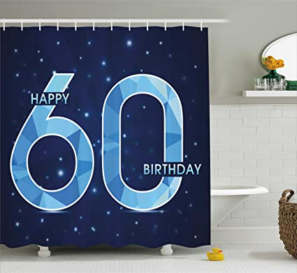 Ambesonne 60th Birthday Decorations Shower Curtain Space Theme Stage With Star Like Abstract Details Art