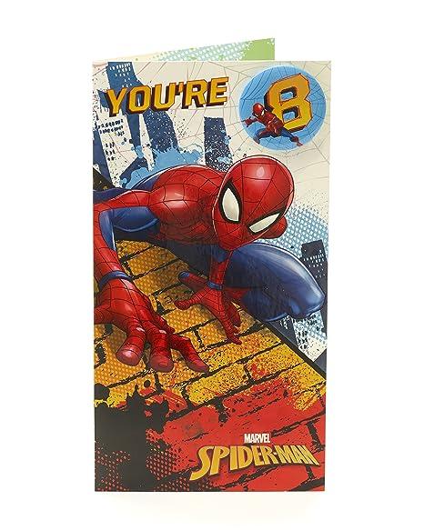 Amazon.com: Marvel Spiderman Tarjeta de 8º cumpleaños ...