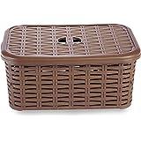 All Time Plastics Rattan Plastic Shelf Basket, 6 Liters, Brown