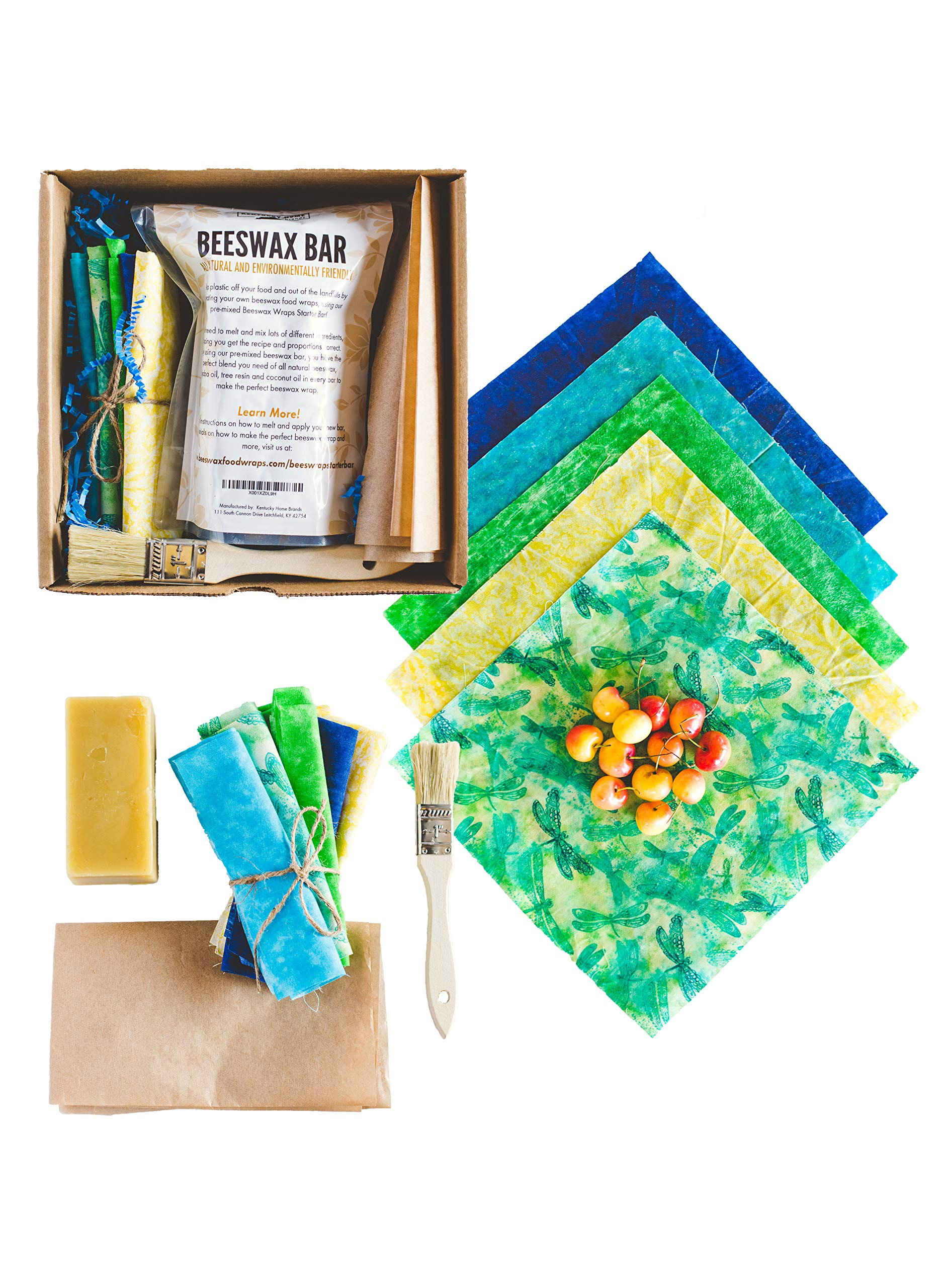 Bees4Seas DIY Premium Natural Beeswax Food Storage Wrap/Sandwich Kit.Create 5 Large Eco-Friendly Biodegradable Reusable Food Wraps. Healthy Plastic Alternative BPA and Chemical Free.Made In The USA.