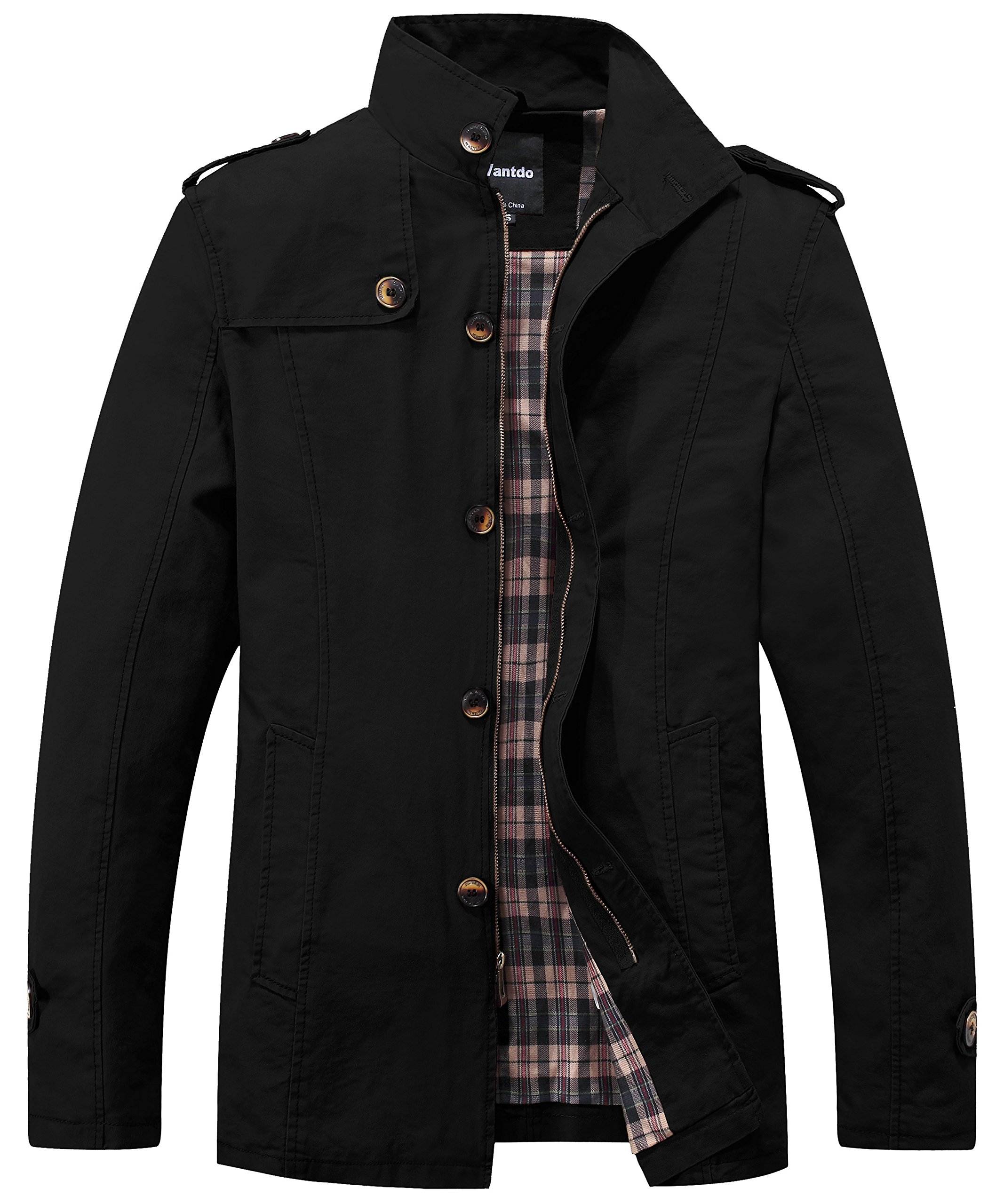 Wantdo Men's Cotton Lightweight Stand Collar Classic Jacket X-Large Black by Wantdo