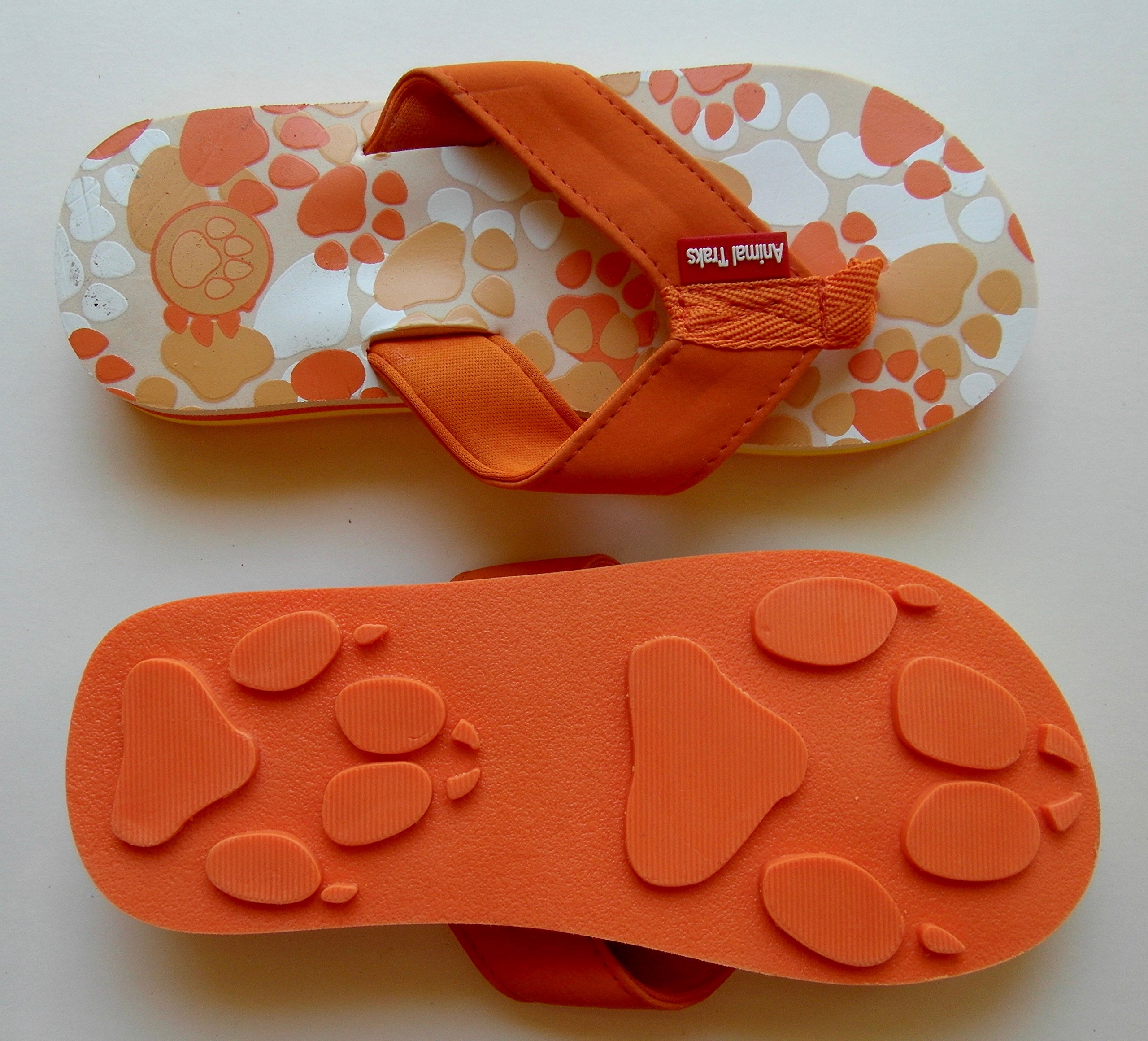 Animal Traks Wolf Orange Medium Kids PAW Print Flip Flops Fun For Beach, Trail and Pool.