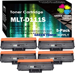 (5-Pack) Compatible MLT-D111S 111S D111S Toner Cartridge Used for Samsung Xpress M2020 M2020W M2022 M2022W M2024 M2026 M2070 M2070W M2078 Printer, by GTS