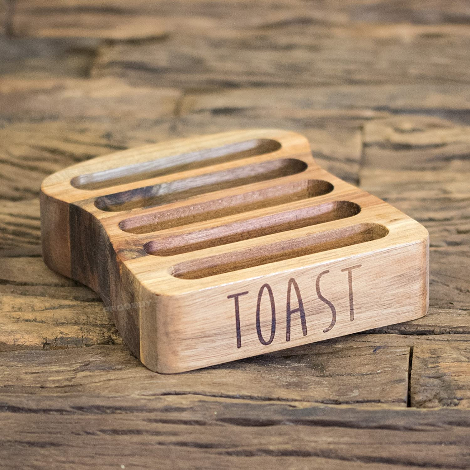 5 Slice Acacia Wooden Toast Serving Rack ProdBuy Limited
