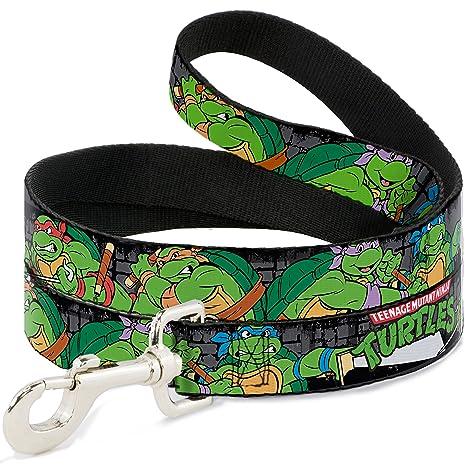 Teenage Mutant Ninja Turtles Buckle-Down Classic TMNT Group Pose4 in Sewer/TMNT Logo Dog Leash, 6