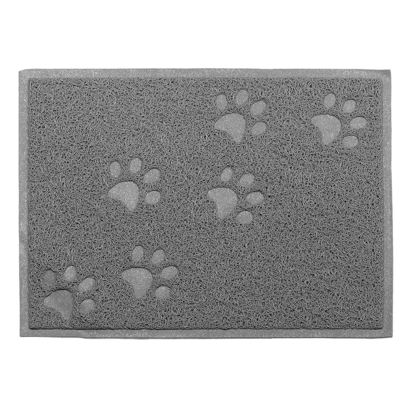 Tera Napperon Tapis en PVC élastique carré 30x40x0, 6cm pour chiens et chats Square-Eat-Mat(Grey)