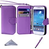 S4 Mini Case, Wisdompro Premium PU Leather 2-in-1 Protective [Folio Flip Wallet] Case with Credit Card Holder/Slots and Wrist Lanyard for Samsung Galaxy S4 Mini (NOT S4 FIT) - Purple