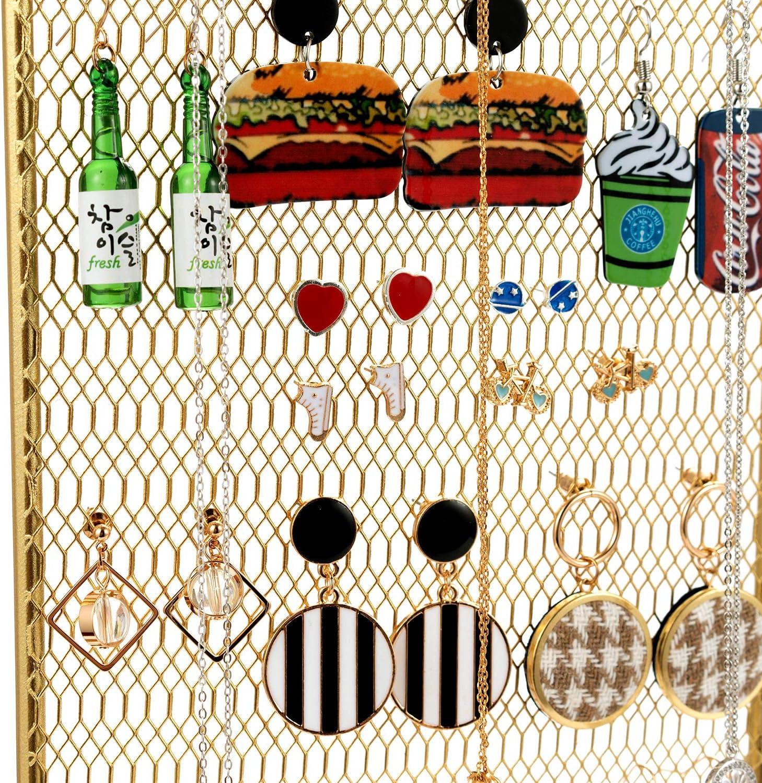 QILICZ Porte-bijoux pour boucles doreilles avec crochets et miroir Dor/é 41 x 35,5 cm
